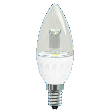 3W LED Deco Candle Bulb with Transparent Cover, 25,000 Hours Lifespan and 100 to 240V Voltage