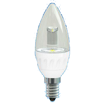 Dim 3.5W LED Deco Candle Bulb with Transparent Cover, 25,000 Hours Lifespan and 220 to 240V Voltage